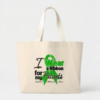Llevo una cinta verde para mis pacientes bolsa tela grande