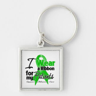 Llevo una cinta verde para mis pacientes llavero cuadrado plateado