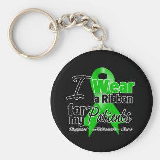 Llevo una cinta verde para mis pacientes llavero redondo tipo pin