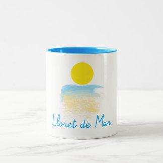 Lloret de Mar beach & sunby ORDesigns. Two-Tone Coffee Mug