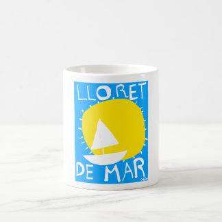 Lloret de Mar summer sun and sailboat. Coffee Mug