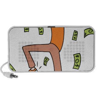 Llover al hombre rico del dibujo animado del iPod altavoces