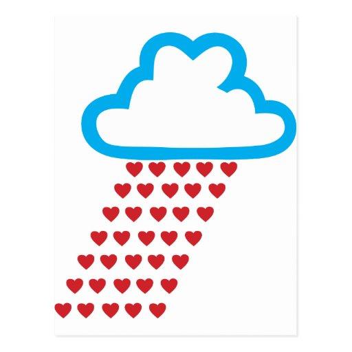 Llover corazones rojos postales