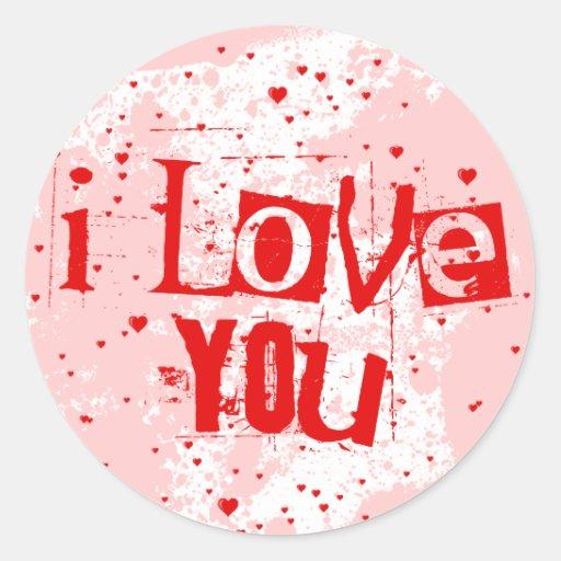 llover corazones: te quiero etiqueta redonda