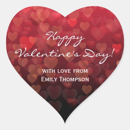 Llover día de San Valentín de los corazones Calcomania De Corazon Personalizadas