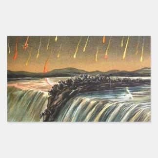 Llover el fuego durante caídas del agua rectangular pegatina