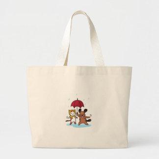 Llover gatos y perros bolsas de mano