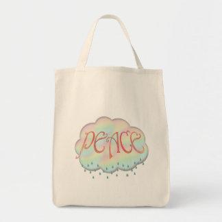 Llover la bolsa de asas retra del diseño de la paz