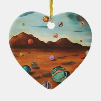 Llover los mármoles adorno de cerámica en forma de corazón