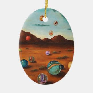 Llover los mármoles adorno ovalado de cerámica
