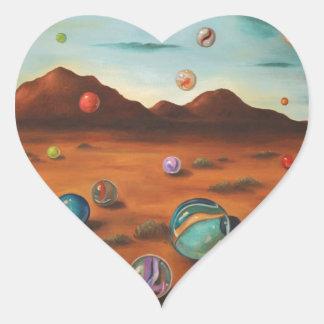 Llover los mármoles pegatina en forma de corazón