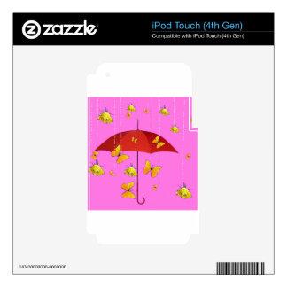 Llover rosas amarillos y los regalos de las iPod touch 4G calcomanía
