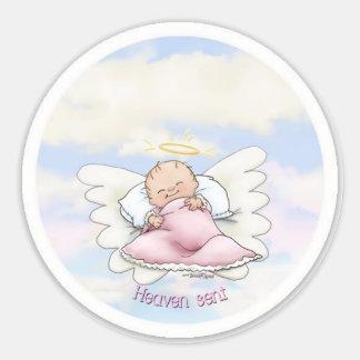 Llovido del cielo - niña del ángel etiqueta redonda