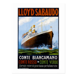 Lloyd Sabaudo Vintage Ocean Liner Advertisement Postcard