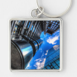 Lloyd's of London and Cheese Grater Silver-Colored Square Keychain