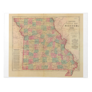 Lloyd's Offical Map of Missouri (1861) Note Pad