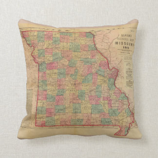 Lloyd's Offical Map of Missouri (1861) Throw Pillow