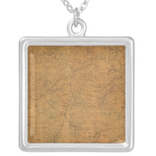 Lloyd's official map of the state of Tennessee Square Pendant Necklace