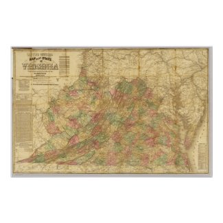 Lloyd's Official Map of the State of Virginia 1862 Posters