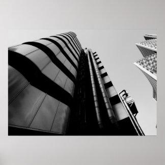 Lloyds que construye Londres central blanco y negr Impresiones