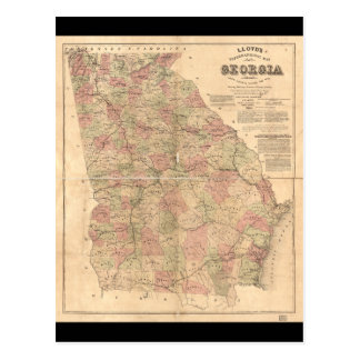 Lloyd's Topographical Map of Georgia (1864) Postcard