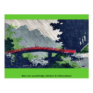 Llueva sobre el puente sagrado (shinkyo) por Uehar Tarjeta Postal