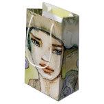 llustration de un chica hermoso, delicado bolsa de regalo pequeña