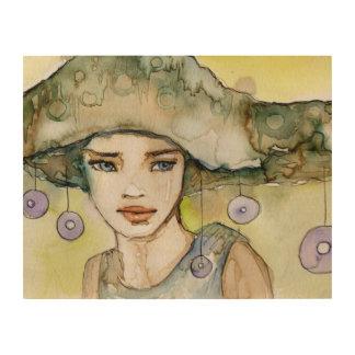 llustration de un chica hermoso, delicado cuadro de madera