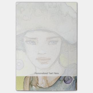 llustration de un chica hermoso, delicado post-it® notas