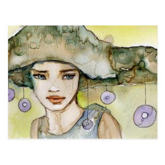 llustration de un chica hermoso, delicado postal