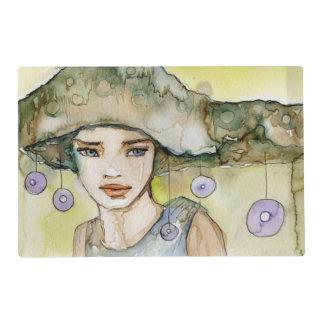 llustration de un chica hermoso, delicado tapete individual