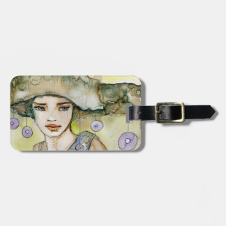 llustration of a beautiful, delicate  girl bag tag