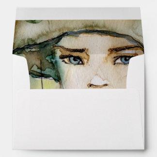 llustration of a beautiful, delicate  girl envelope