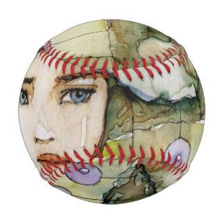 llustration of a beautiful, delicate  girl baseballs