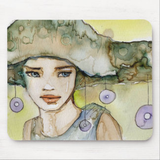 llustration of a beautiful, delicate  girl mouse pad