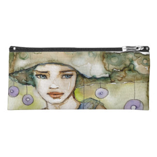 llustration of a beautiful, delicate  girl pencil case
