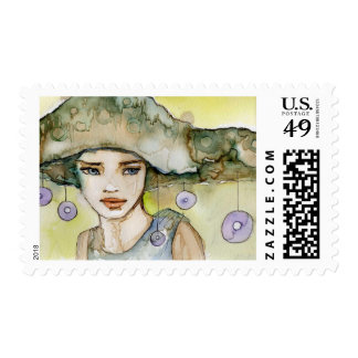 llustration of a beautiful, delicate  girl postage