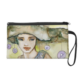 llustration of a beautiful, delicate  girl wristlet purse