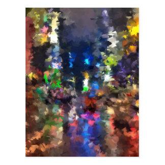 lluvia abstracta de la noche de la ciudad de la tarjetas postales