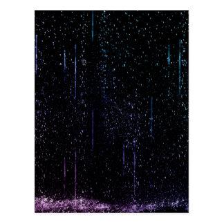 Lluvia azul y púrpura postales