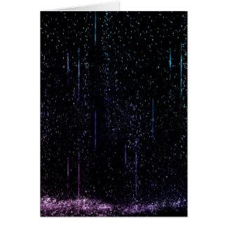 Lluvia azul y púrpura tarjeta de felicitación