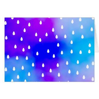 Lluvia con el cielo nublado azul y púrpura tarjeta pequeña