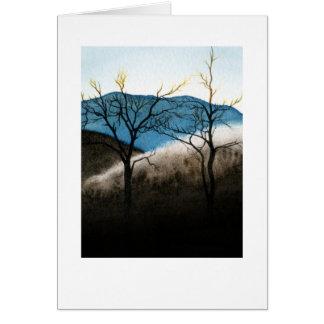 Lluvia congelada canto azul tarjeta de felicitación