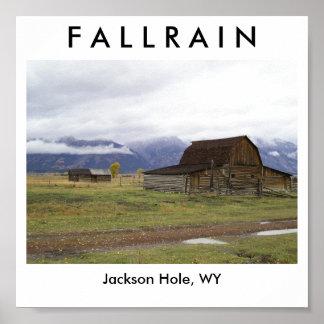 Lluvia de la caída póster