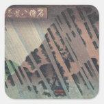 Lluvia de la noche en Oyama, c.1830 Pegatina Cuadrada