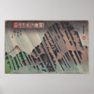 Lluvia de la noche en Oyama, c.1830 Póster