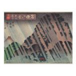 Lluvia de la noche en Oyama, c.1830 Tarjeta Postal