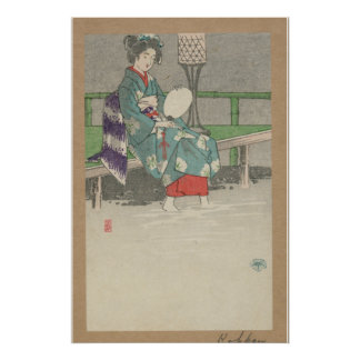 Lluvia de la tarde - arte japonés del vintage - pr