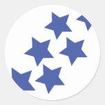 lluvia de las estrellas azules etiqueta redonda