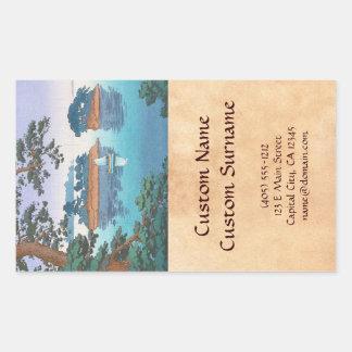 Lluvia de primavera, arte japonés del waterscape pegatina rectangular